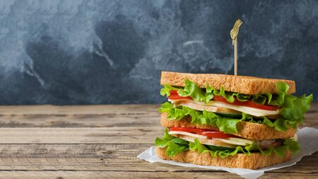 Tasty and fresh sandwiches on a dark wooden table. Copy space Stockfoto