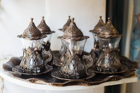 Traditional Turkish tea and coffee sets in Istanbul market