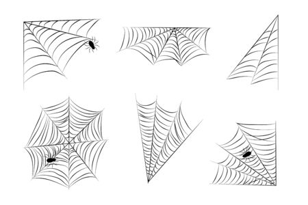 Set Web spider cobweb and spiders icon. Six Vector drawing for Halloween Illustration