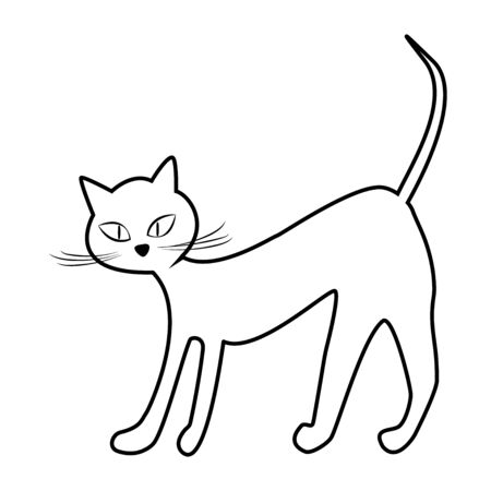 Contour lines of the cat isolate on white. Vector illustration