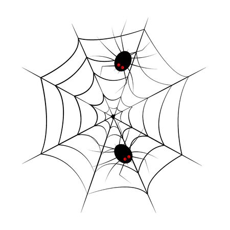 Web spider cobweb and spiders icon.Vector drawing for Halloween