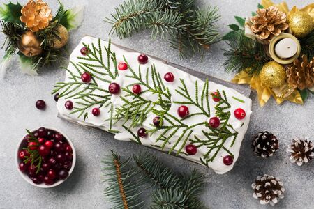 Traditional Christmas cake with cranberries on gray table background. Horizontal. Copy space Фото со стока