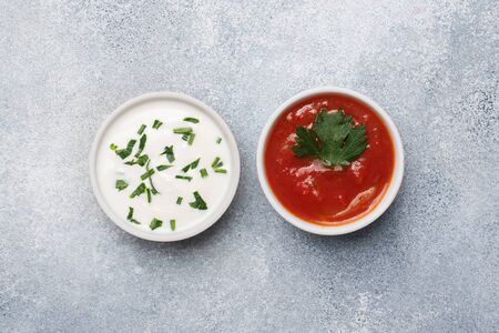 Ketchup mayonnaise greens in plates on a gray concrete table with copy space