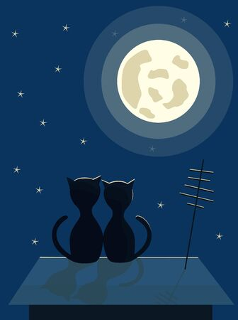 Two black cats sit on the roof. Night city moon and stars in the sky.