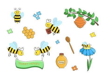 Set of bees and honey. Vector drawings of funny honey bees and beehives.