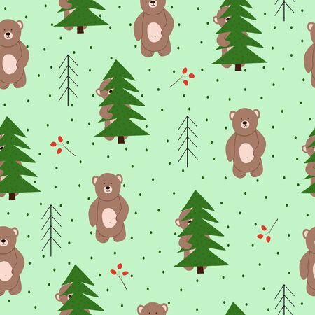 Seamless vector pattern with bears in the forest. Scandinavian style.