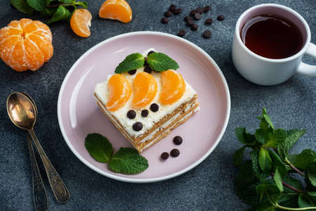 Sponge cake layers with buttercream, decorated with slices of tangerine chocolate and mint. Delicious sweet dessert for tea
