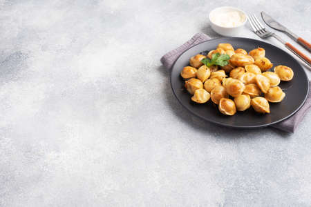 Traditional fried pelmeni, ravioli, dumplings filled with meat on black plate, russian kitchen Gray concrete background, copy space. 免版税图像