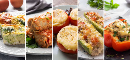 Collage of different photos of delicious food. A set of images with edible dishes