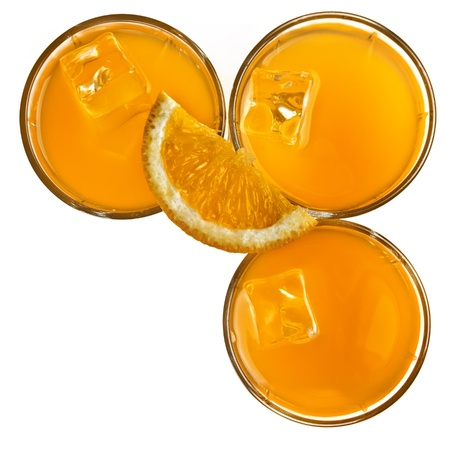 Stock Photo:    Orange juice glasses isolated on white background photo