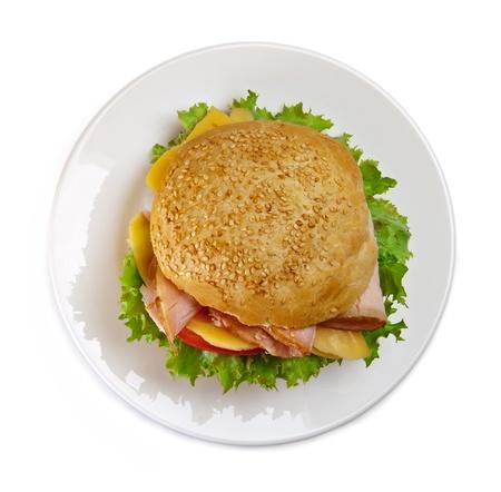 sandwich white background: Sandwich on the plate, white background