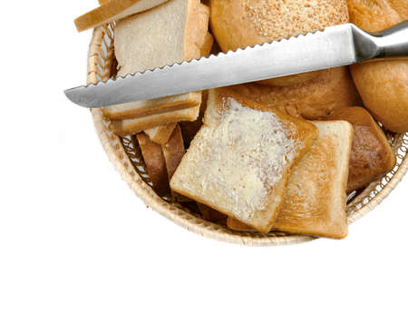 bread basket: Bread in a basket, isolated on white Stock Photo
