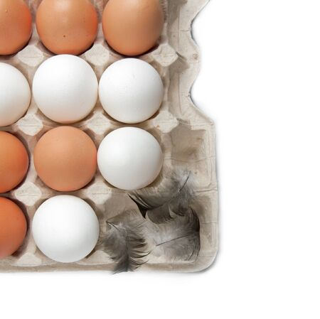 produits alimentaires: Oeufs dans un tiroir, fond blanc, isolé