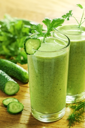 cucumbers: Healthy drink, vegetable juice, studio shot
