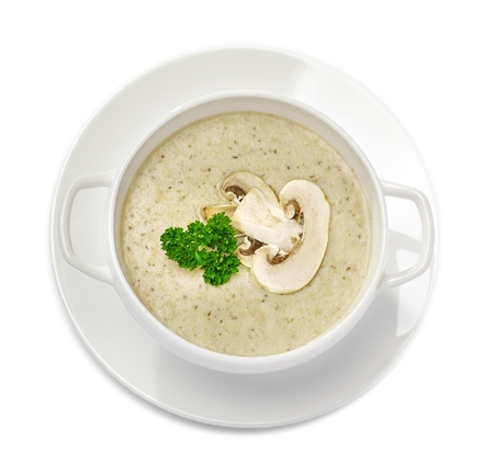 soup bowl: Mushroom cream soup isolated on white