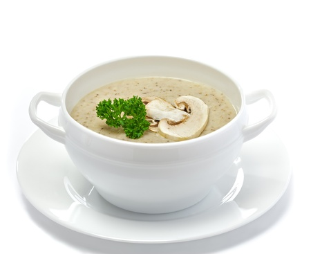 Mushroom cream soup isolated on white Stock Photo - 17721377