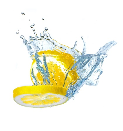 Lemon slices splashing water, isolated on white background Stock Photo