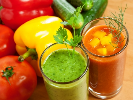 Healthy drink, vegetable juice, red and green Stock Photo - 17844668