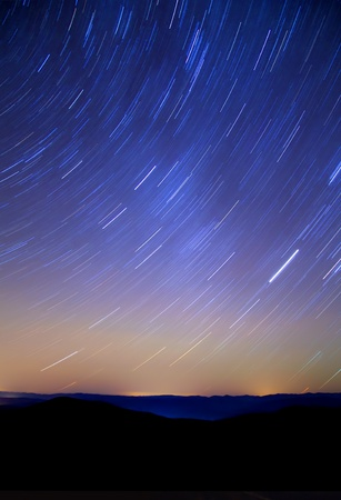 Sky of stars in mountains, rotated, night photo