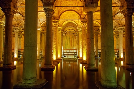 Istanbul, Basilica Cistern, Illuminated ancient dungeon