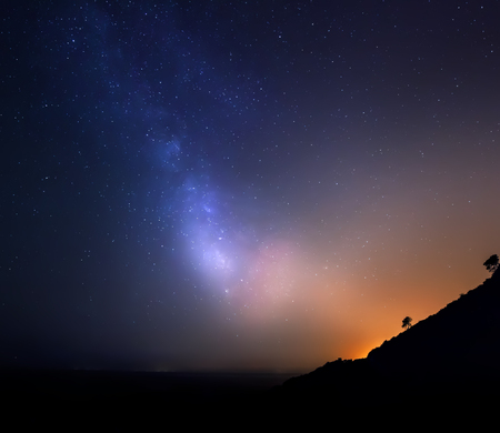 Sky with stars in night, landscape photo