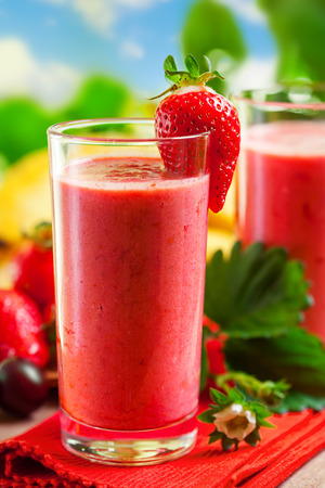 Summer drink, strawberry smoothies, outdoor