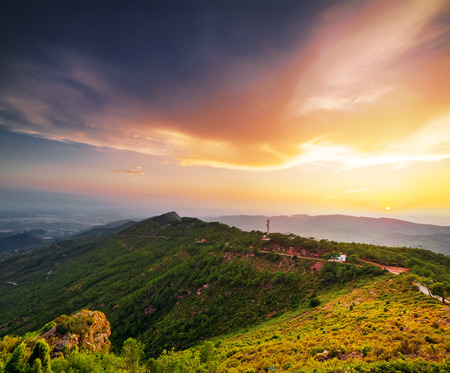 grassy plot: Sunset landscape in mountains Stock Photo