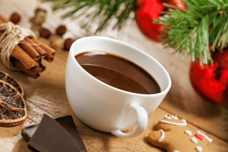 Hot chocolate, Christmas traditional drink with gingerbread