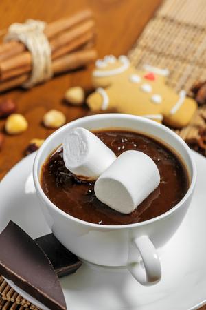 galleta de jengibre: Taza de chocolate caliente con malvaviscos en la mesa con la galleta de jengibre, nueces y canela