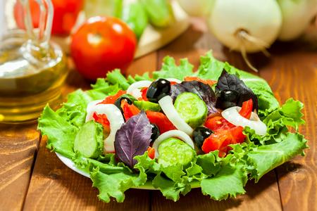 Salad on table, vegetarian healthy food