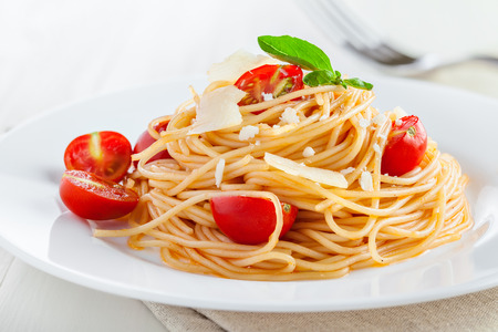Spaghetti, pasta with tomato sauce Stock Photo