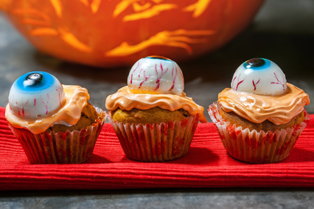 sweet course: Halloween eye cupcake eye, sweet Stock Photo