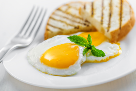 plate of food: Fried Eggs on plate, food for breakfast
