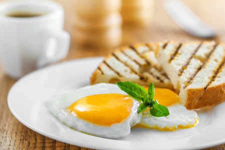 delicious: Fried eggs with toasts and coffee, traditional breakfast
