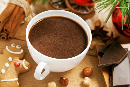 cioccolato natale: cioccolata calda, bevanda tradizionale di Natale Archivio Fotografico