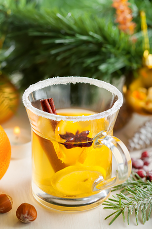 alcoholic drink: Traditional hot alcoholic drink for Christmas Eve party. Mulled cider.