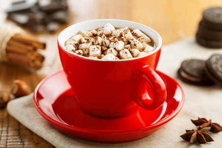 Hot chocolate in red cup with marshmallow. Delicious hot chocolate with cookies.