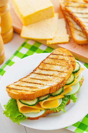 european food: Delicious sandwich with cheese on table, tasty European food