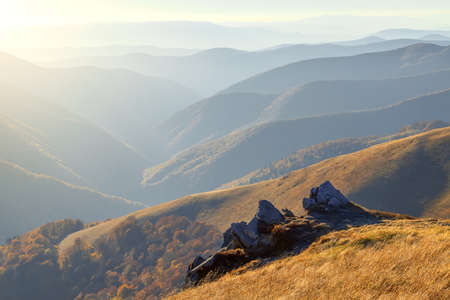 endlessness: Sunset in mountains, landscape