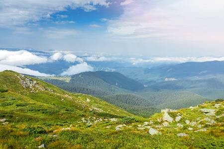 Landscape of Carpathian Mountains in a summer sunny day. Beautiful mountain scenery with clear sky.