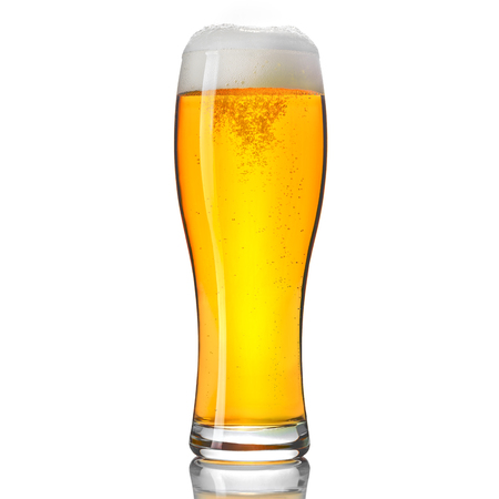 Glass of classic beer isolated on white background.