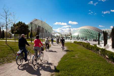 Valencia, Spain. April 8, 2012. Cycling in the City of Science on a spring day