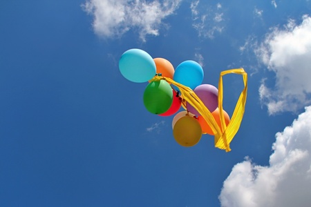 colourfull: Colourfull Balloons in the Blue Sky Stock Photo