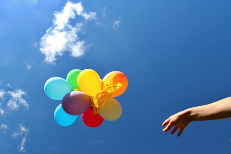 panchami: Colourfull Balloons in the Blue Sky Stock Photo