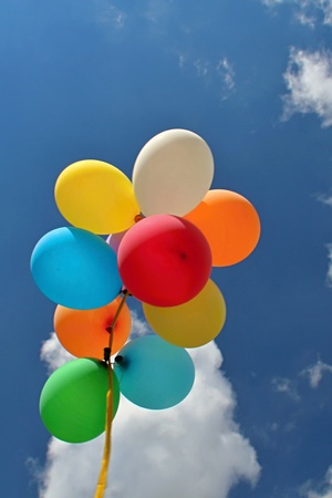 Colorful Balloons in the Blue Sky photo
