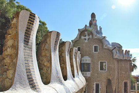 parc: Photo of Parc Guell, Barcelona, Spain made in the late Summer time in Spain, 2013 Stock Photo
