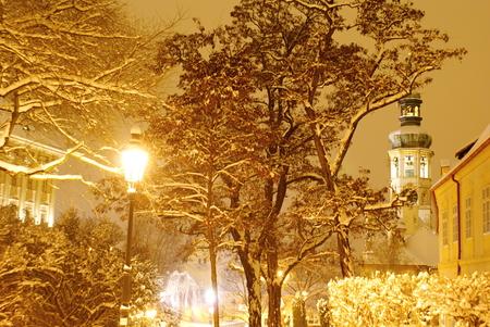 Prague castle during the heavy snow time  photo