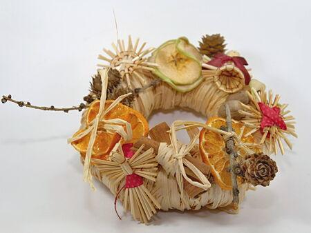 Christmas straw wreath decoration photo