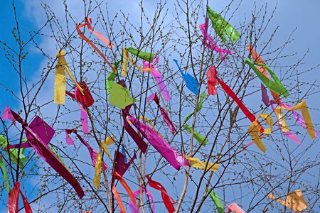 Photo shows colourful maypole in front of the blue sky.