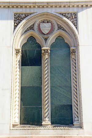 mediaval: Photo shows a detail of mediaval glass window. Stock Photo